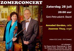 Uniek Zomerconcert met Annabel Gordon, cello & Joannes Thuy,orgel